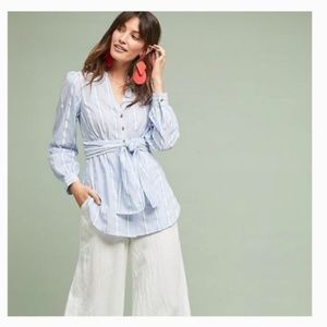 Anthropologie Blue & White Stripe Button-down Shir